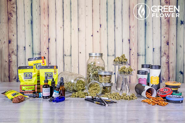 cannabis products including tinctures, edibles and flower