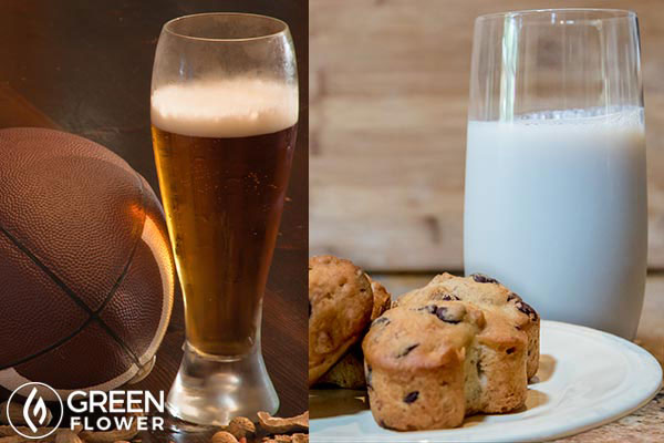 football and a glass of beer and milk and cookies