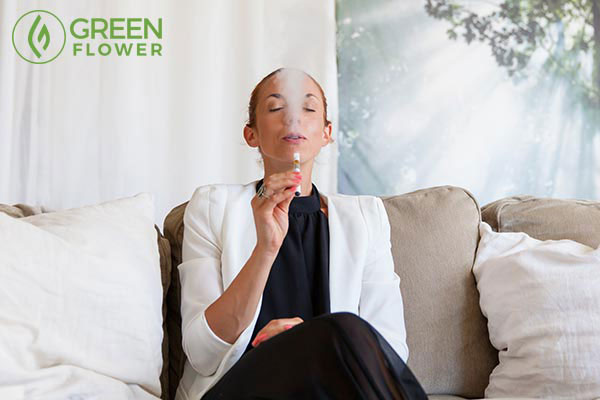 woman vaping cannabis