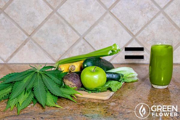 fresh cannabis leaves and cannabis juice