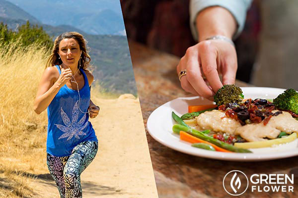 Split picture of Mandee jogging and preparing a meal
