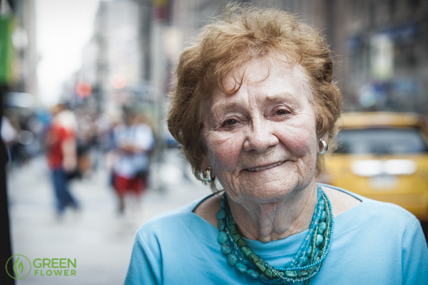 Elderly woman looking at the camera