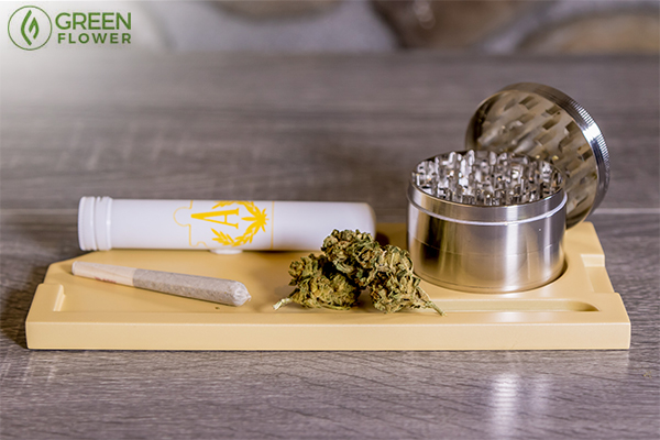 Cannabis joint and grinder