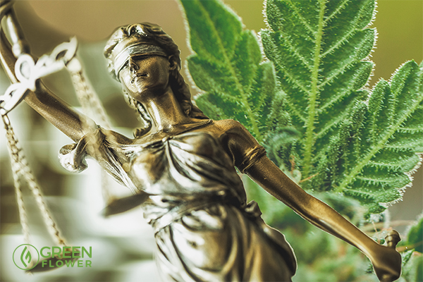 Lady Justice with cannabis leaf