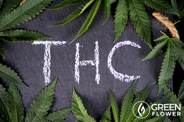 THC with cannabis leaves