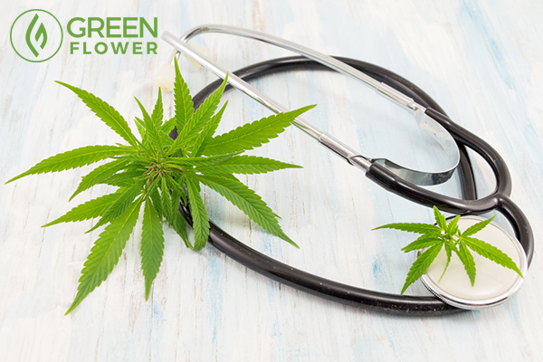 cannabis leaf and stethoscope