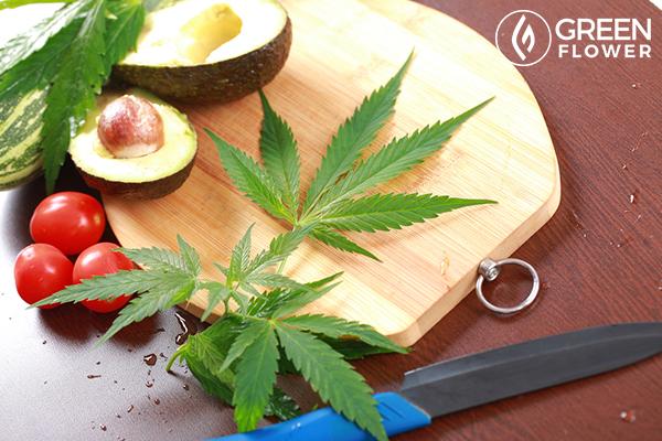 cannabis leaf with avocado