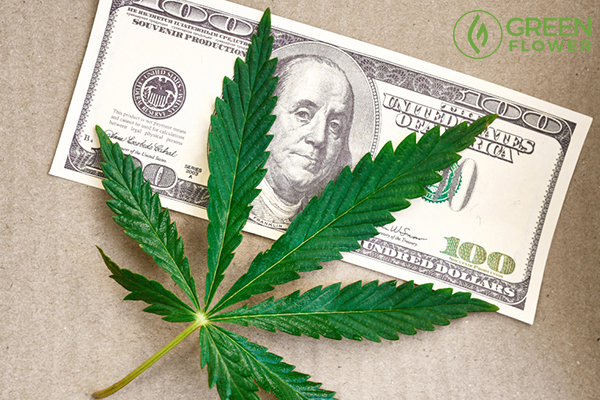 cannabis leaf on us dollar