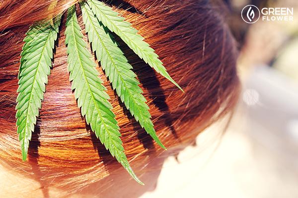 cannabis leaf in red hair